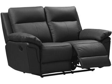 Canapé 2 places relax en cuir de buffle PAKITA - Noir