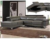Canapé d'angle relax électrique en cuir PASCALINE - Anthracite - Angle gauche