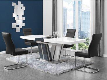 Table à manger extensible NOAMI II - 6 à 8 couverts - MDF laqué gris et blanc