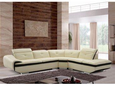 Canapé d'angle en cuir de buffle LOMANDE - Ivoire - Angle droit