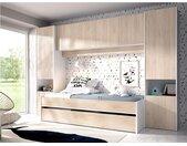 Lit gigogne avec pont de lit SELENA - 90 x 190 cm - Coloris : chêne et blanc