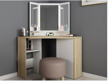 Coiffeuse CHARLENE - Miroir à LEDs et rangements - Blanc et chêne