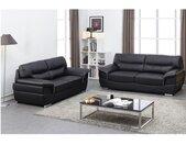 Canapé 3+2 places en cuir THIBAULT - Noir