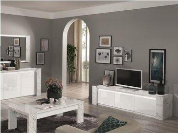 Meuble TV SABAN - Avec LEDs - 3 portes - Blanc laqué et effet marbre