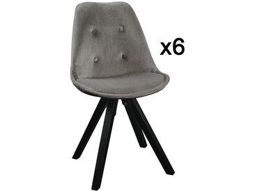 Lot de 6 chaises scandinaves ANEYA - Velours & Pieds Hévéa - Gris