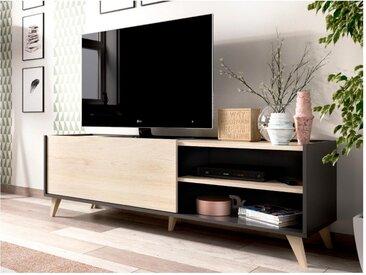 Meuble TV KOLYMA - 1 porte & 2 niches - Coloris : Chêne & Anthracite
