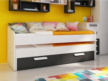 Lit gigogne ANSELME - 2 tiroirs - 90x190cm - Noir et blanc