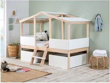 Lit cabane VASCO avec tiroirs - 90 x 190 cm - Pin - Coloris : Naturel et Blanc