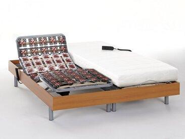 Ensemble relaxation tout plots mémoire de forme PERSEE de DREAMEA - moteurs OKIN - merisier - 2x80x200cm