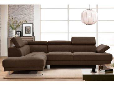 Canapé d'angle en tissu DANVIN avec têtières - Marron - Angle gauche