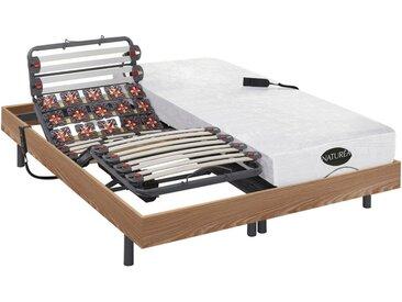 Lit électrique relaxation lattes et plots matelas mémoire de forme et bambou DAMYSOS de NATUREA - moteurs OKIN - 2 x 80 x 200 cm - Chêne