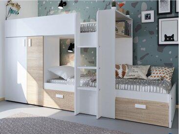 Lits superposés JULIEN - 2x90x190cm - Armoire intégrée - Blanc et chêne