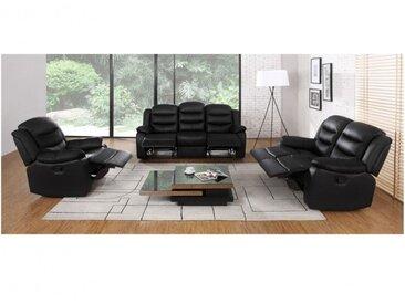 Canapé 3+2+1 places relax en cuir de buffle PLITON - Noir