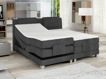 Ensemble boxspring tête de lit + sommiers relaxation électrique + matelas + surmatelas CASTEL de PALACIO -  2x80x200cm -  Velours gris