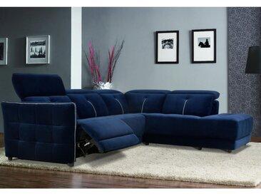 Canapé d'angle relax électrique en velours  CORANTIN - Bleu nuit - Angle droit