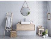 Meuble de salle de bain suspendu avec simple vasque TEANA - couleur chêne