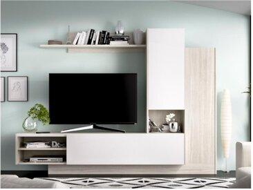 Mur TV MARITSA - Avec rangements - Coloris : Chêne Gris & Blanc