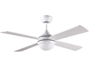 Ventilateur de plafond 6 vitesses avec lumière à LEDS AIRY - fer et effet bois - D. 122 cm - blanc