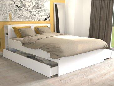 Lit EUGENE avec tête de lit rangements et tiroirs - 140 x 190cm - Blanc