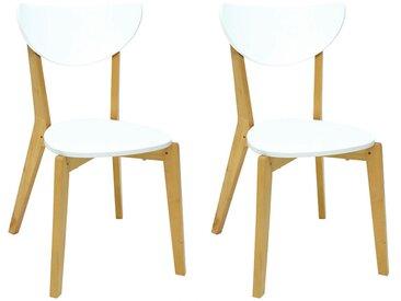 Lot de 2 chaises scandinaves KATERINA - MDF & Bois - Blanc