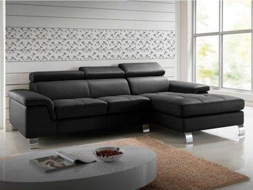 Canapé d'angle cuir MISHIMA - Noir - Angle droit