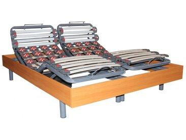 Sommier électrique de relaxation 28 lattes et 40 plots déco bois merisier de DREAMEA - 2x70x190cm - moteurs OKIN