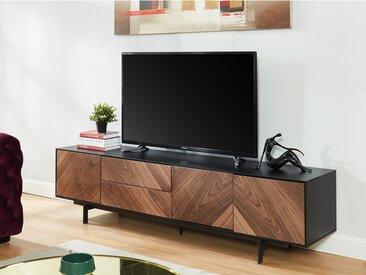 Meuble TV ISMAEL - 3 portes & 2 tiroirs - MDF - Noyer & Noir