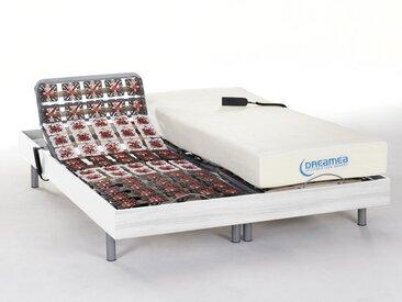 Lit électrique relaxation tout plots matelas mémoire de forme HESIODE III de DREAMEA - moteurs OKIN - blanc - 2 x 80 x 200 cm
