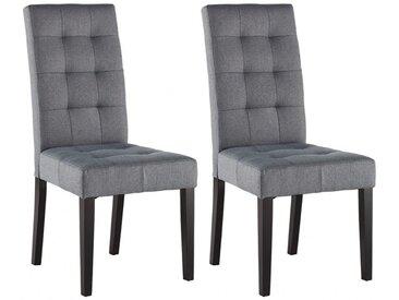 Lot de 2 chaises VILLOSA - Tissu gris & Pieds bois foncé