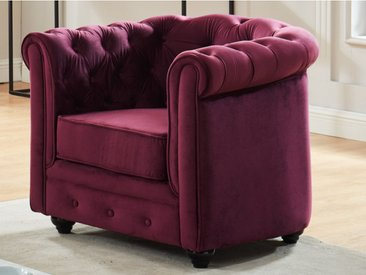 Fauteuil CHESTERFIELD - Velours pourpre