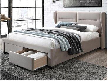 Lit ALESSANDRO tête de lit avec oreillettes - Avec tiroirs - 160x200cm - Tissu Beige