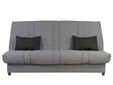 Canapé clic-clac 100% coton avec coffre de rangement FARWEST - Gris clair coussins contrastés