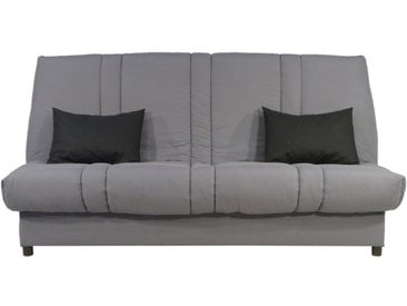 Canapé clic clac en tissu FARWEST avec coffre de rangement - Gris clair coussins contrastés
