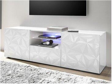 Meuble TV ERIS - LEDs - 2 portes & 1 tiroir - Blanc laqué