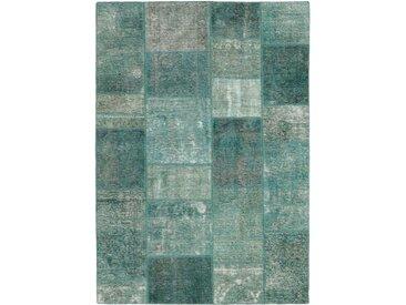 Tapis Patchwork 203x142 Gris Foncé/Bleu Clair (Laine, Perse/Iran, Noué à la main)