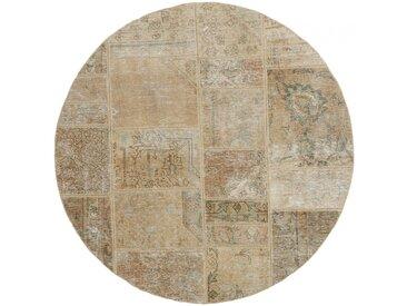 Tapis Patchwork 151x149 Moderne/Design Ronde Beige/Marron Foncé (Noué à la main, Laine, Perse/Iran)