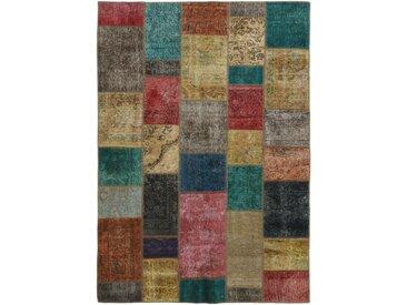 Tapis Patchwork 237x169 Moderne/Design Marron/Rouge (Noué à la main, Laine, Perse/Iran)