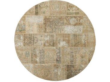 Tapis Patchwork 199x199 Moderne/Design Ronde Beige/Marron Foncé (Noué à la main, Laine, Perse/Iran)