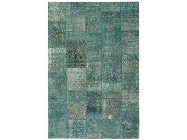 Tapis Patchwork 302x206 Gris Foncé/Bleu Clair (Laine, Perse/Iran, Noué à la main)