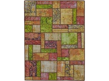 Tapis Fait Main Patchwork 201x151 Marron/Vert Foncé (Laine, Perse/Iran)
