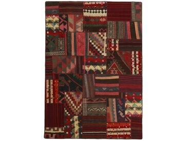 Tapis Kilim Patchwork 230x160 Marron Foncé/Rouille (Laine, Perse/Iran, Noué à la main)