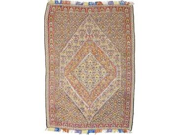 Tapis Kilim Senneh 201x141 Gris/Marron Foncé (Laine/Soie, Perse/Iran, Noué à la main)