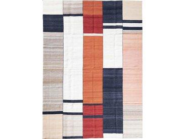 Tapis D'orient Kilim Fars Design Kiasar 351x252 Orange/Bleu Foncé (Perse/Iran, Laine, Tissé à la main)