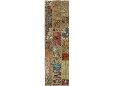Tapis Patchwork 254x71 Moderne/Design Beige/Marron (Noué à la main, Laine, Perse/Iran)