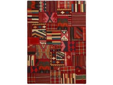 Tapis D'orient Kilim Patchwork 230x160 Gris Foncé/Rouille (Laine, Perse/Iran, Noué à la main)