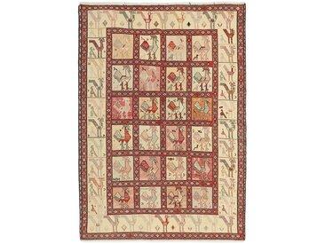Tapis Kilim Soumak Shahsavan 183x126 Beige/Rouille (Laine, Perse/Iran, Noué à la main)