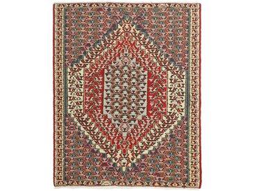 Tapis Kilim Senneh 151x121 Gris Foncé/Rouge (Laine, Perse/Iran, Noué à la main)