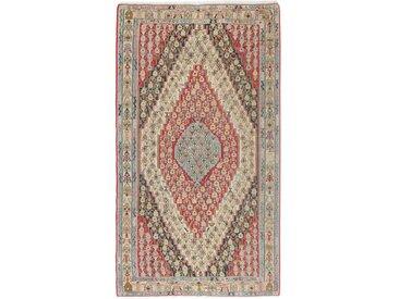 Tapis Kilim Senneh 251x141 Gris/Marron Foncé (Laine, Perse/Iran, Noué à la main)