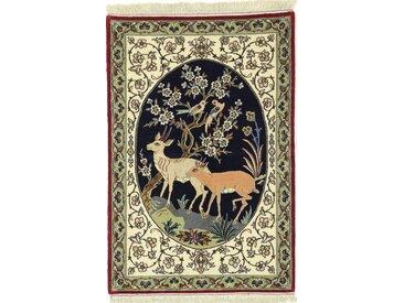 Tapis Persan Ispahan Chaîne de Soie 107x69 Ispahan Chaîne de Soie Beige/Vert Foncé (Noué à la main, Perse/Iran, Laine/Soie)