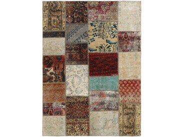 Tapis Patchwork 198x142 Gris Foncé/Beige (Laine, Perse/Iran, Noué à la main)